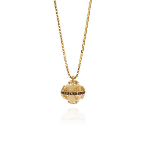 Gold Mini Bella Ball Necklace with Black Spinel
