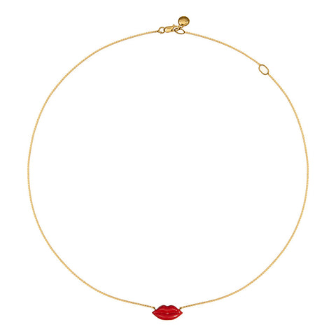 Enamel Pout Necklace