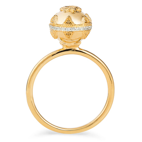 Gold & White Topaz Bella Ball Ring