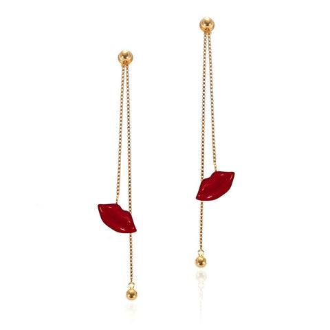 Enamel Pout Long Drop Earrings