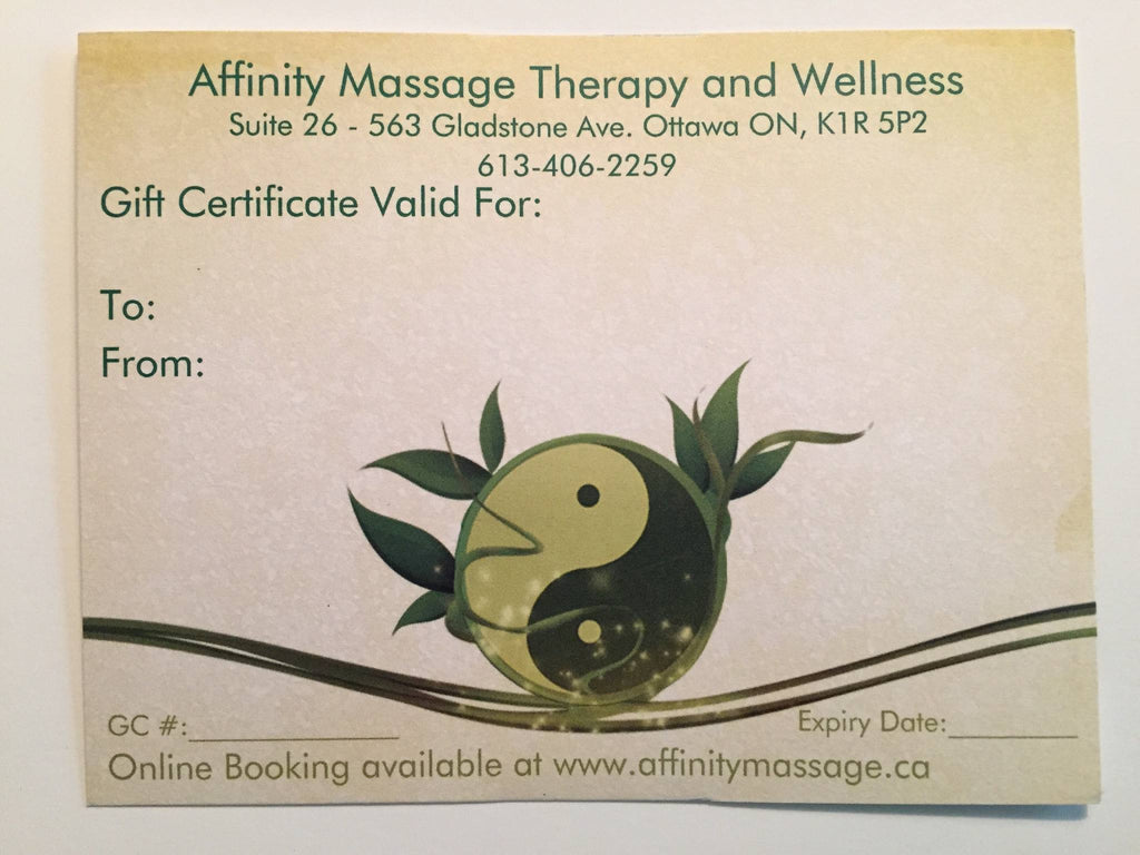 Gift Certificate for a 75 Minute Massage – Affinity Massage ...