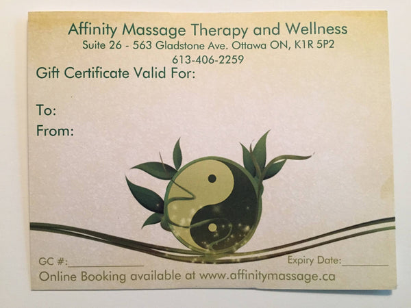 Gift Certificate for a 60 Minute Massage