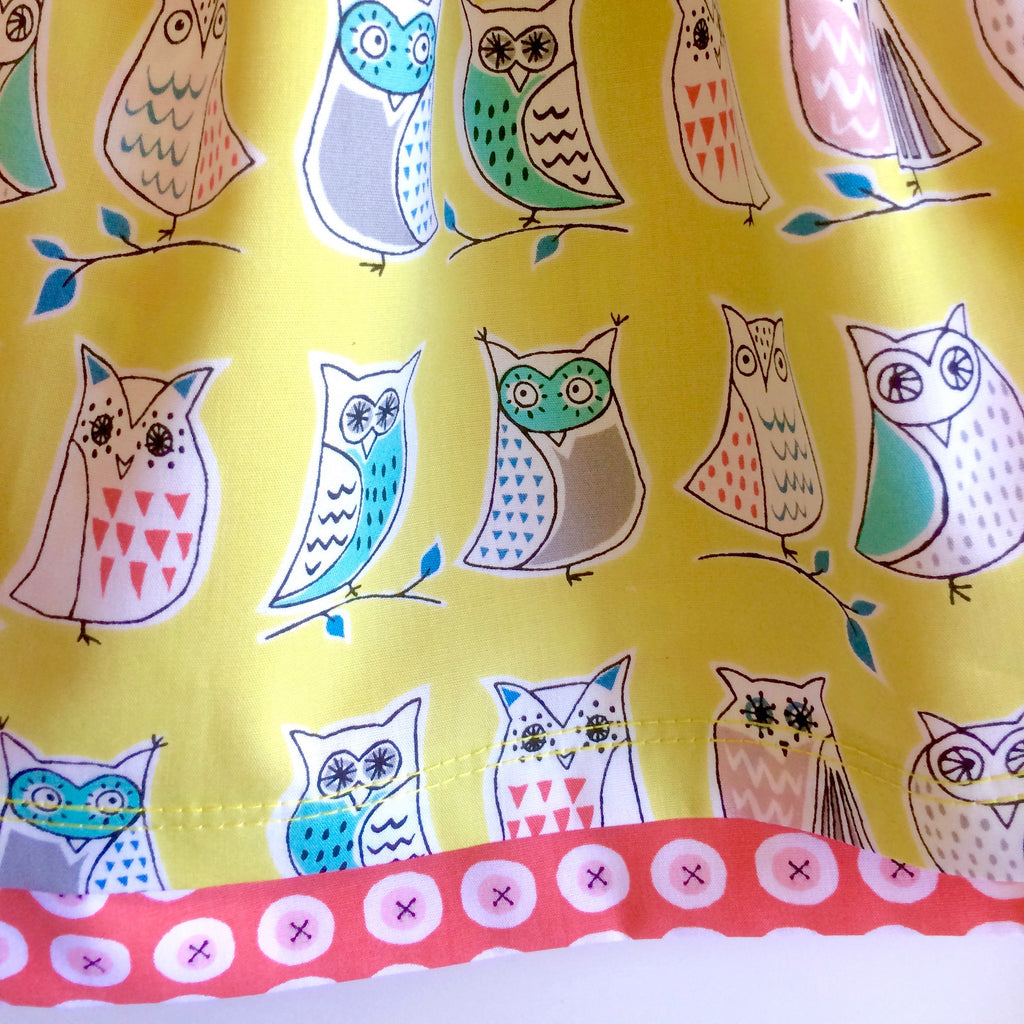 Organic owls skirt, baby skirt, girls skirt, owls, double layered