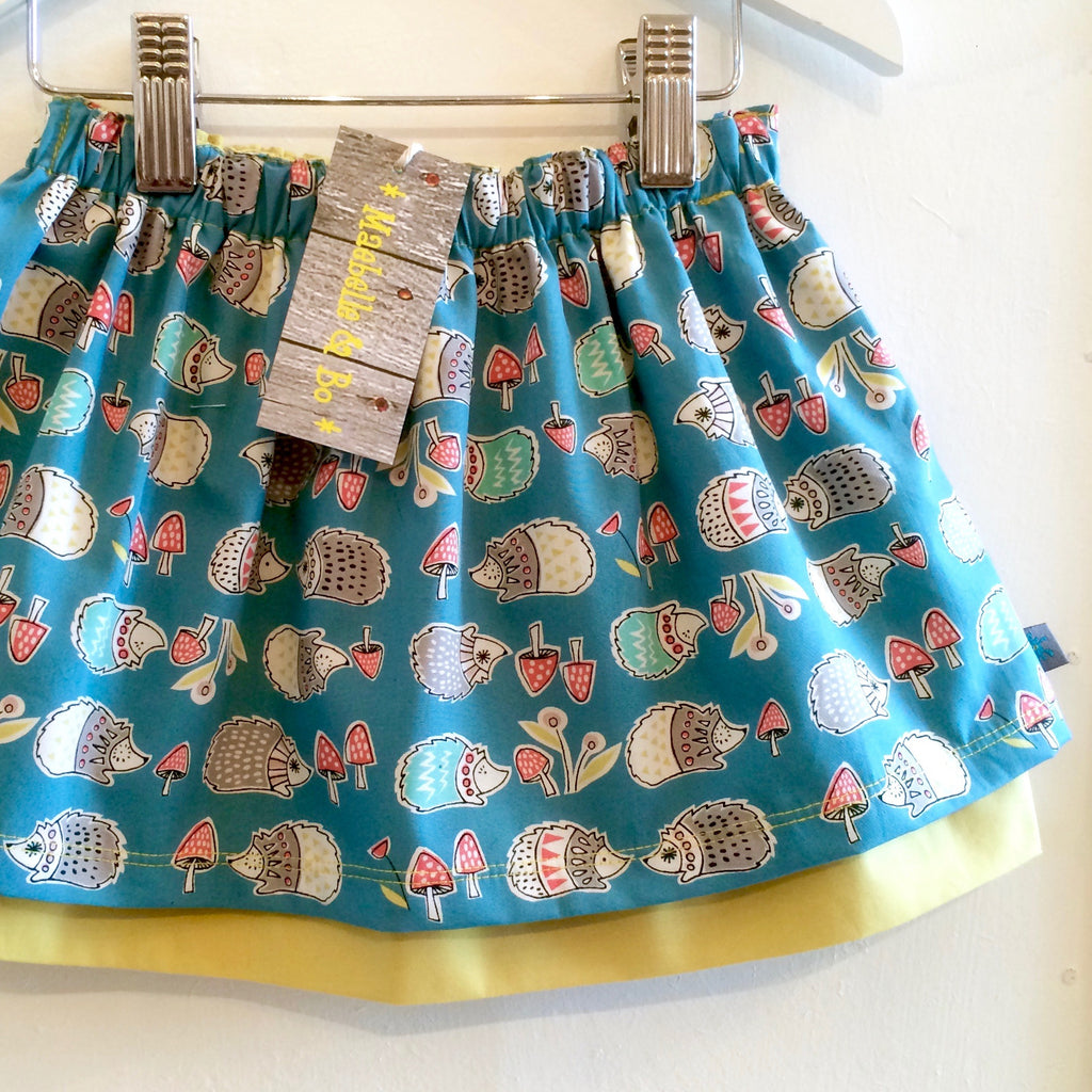 Organic hedgehog skirt, baby skirt, girls skirt, hedgehogs, double layered