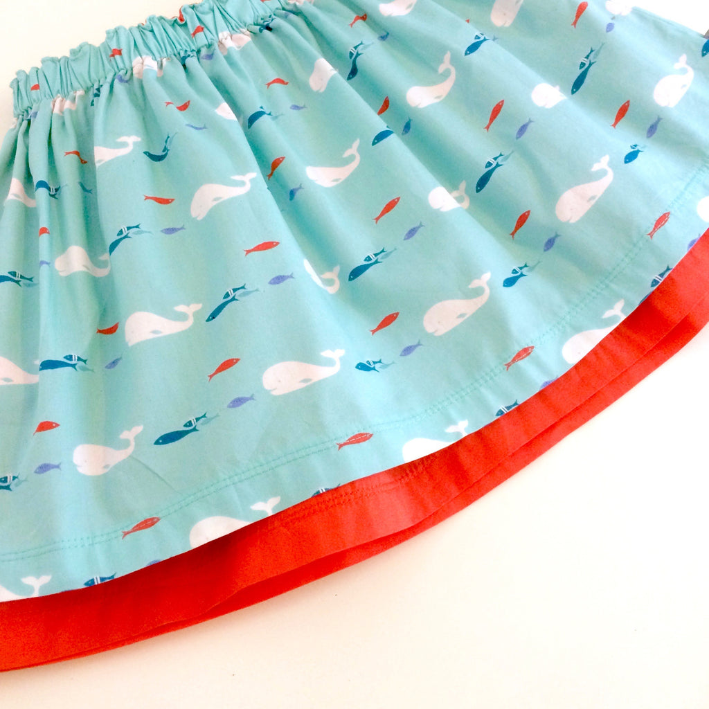 Organic whales skirt, baby skirt, girls skirt, whales, double layered