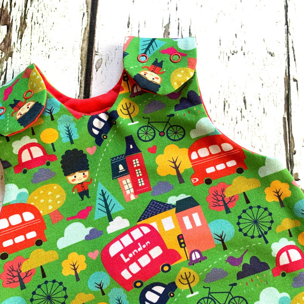 London buses shortie baby romper, baby dungarees, toddler romper, bus romper