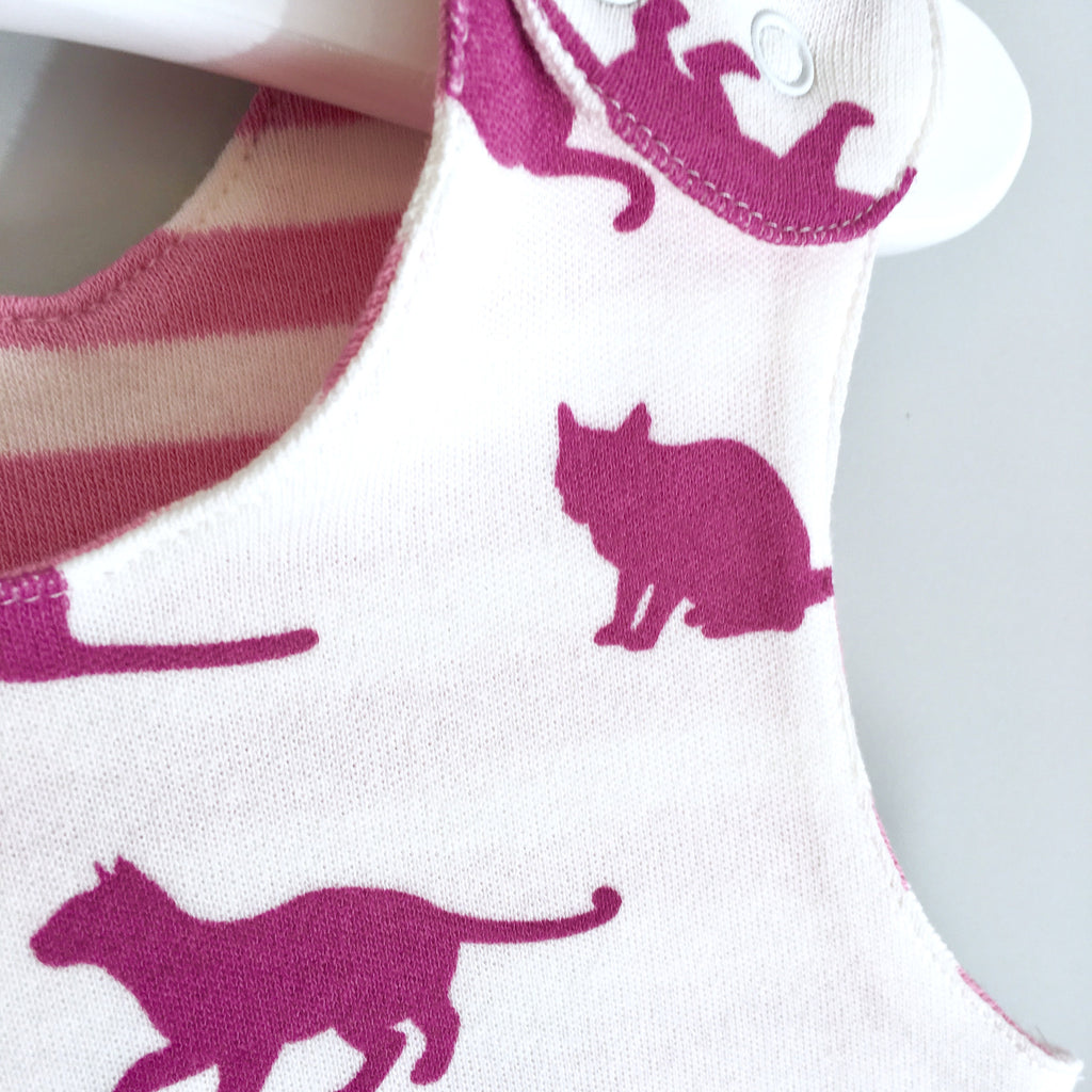 Cats print romper, baby dungarees, cats, baby clothes, organic baby