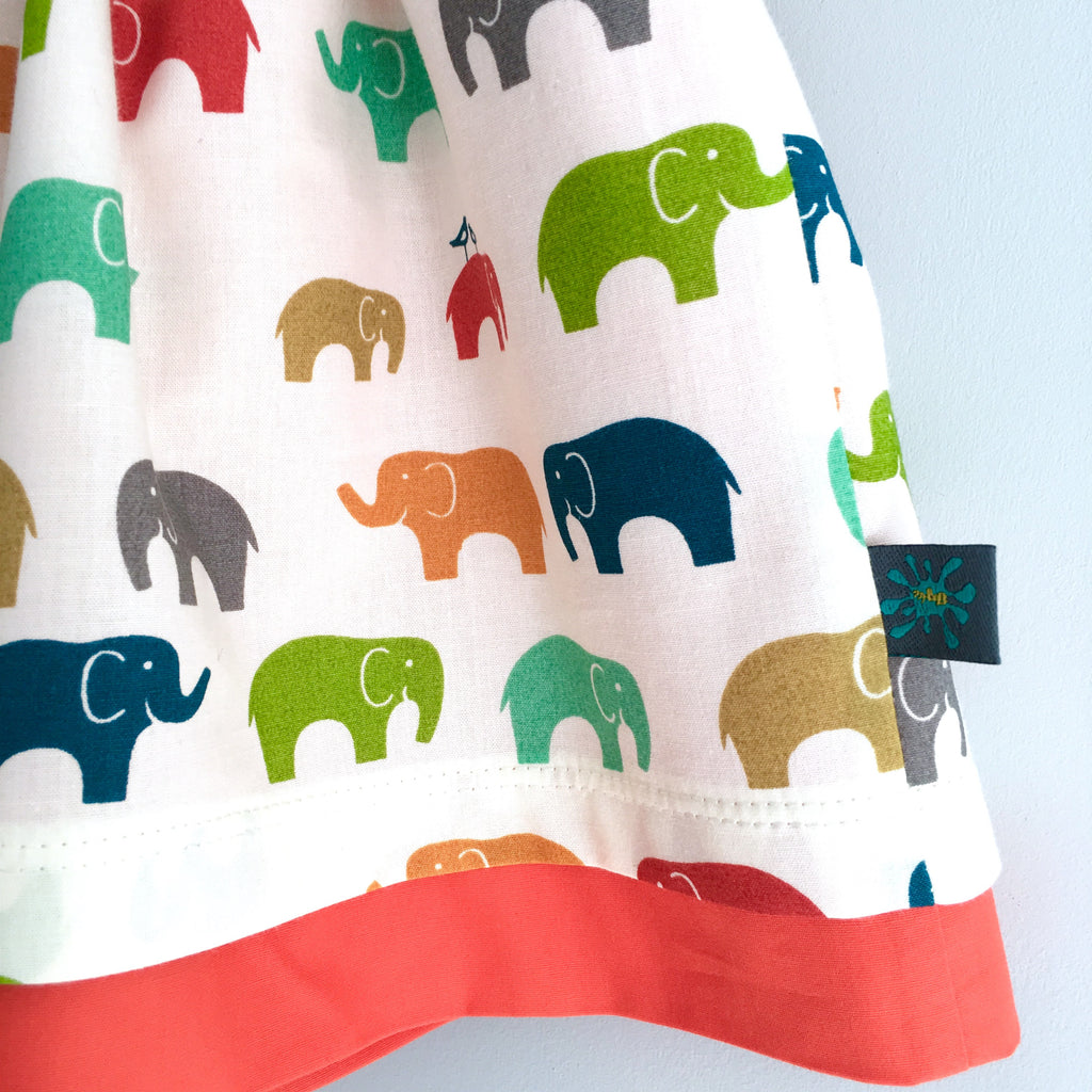 Organic elephants skirt, baby skirt, girls skirt, elephants, double layered
