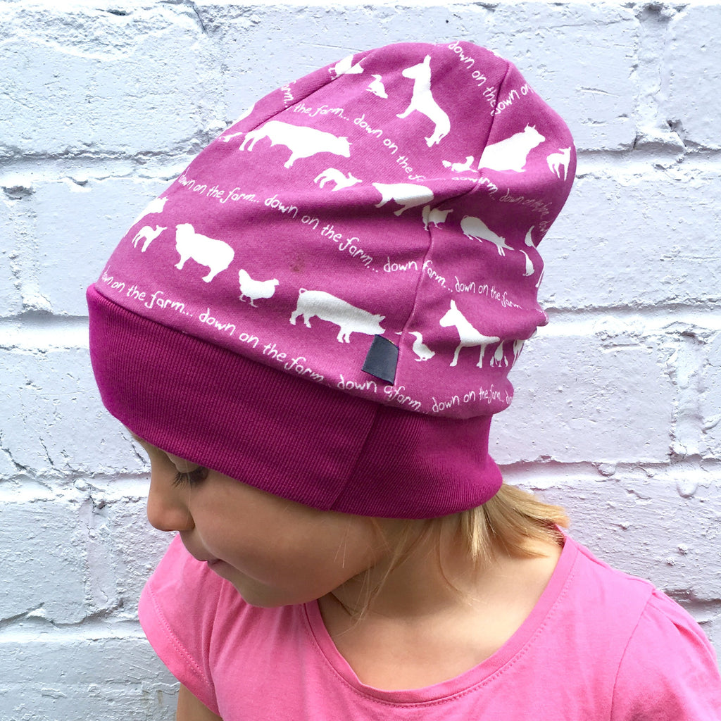 purple farm beanie, slouchy beanie hat, beanie, , farmyard, baby hat, toddler hat