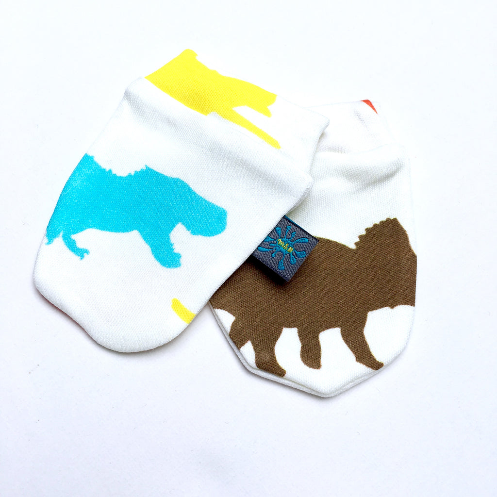 Organic baby mitts, dinosaurs, baby scratch mits, baby mits