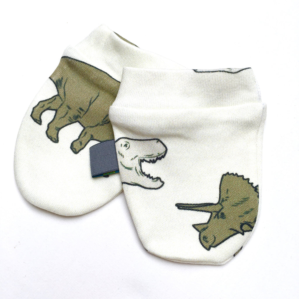 Organic baby mitts, dinosaurs, baby scratch mitts, baby mitts