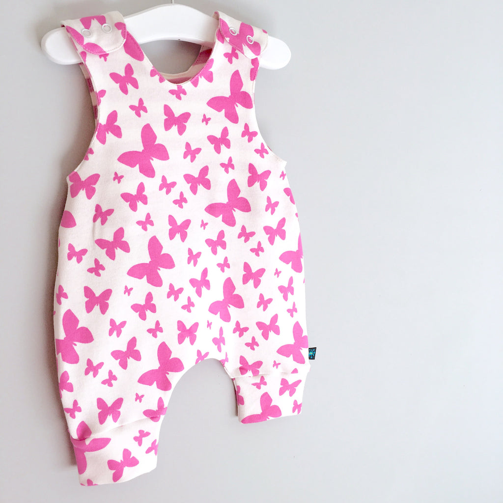 Butterflies print romper, baby dungarees, butterflies, baby clothes, organic baby