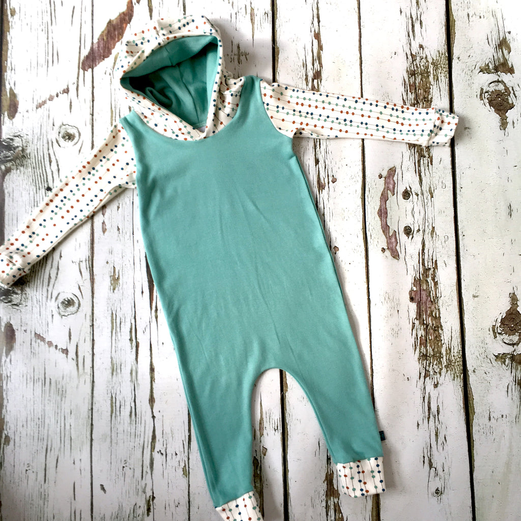 Pull-on organic harem romper, solid colour romper, baby onesie, hooded romper