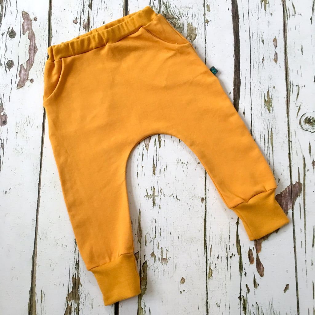 NEW! Mustard organic baby child harem sweatpants, baby sweatpants,  joggers