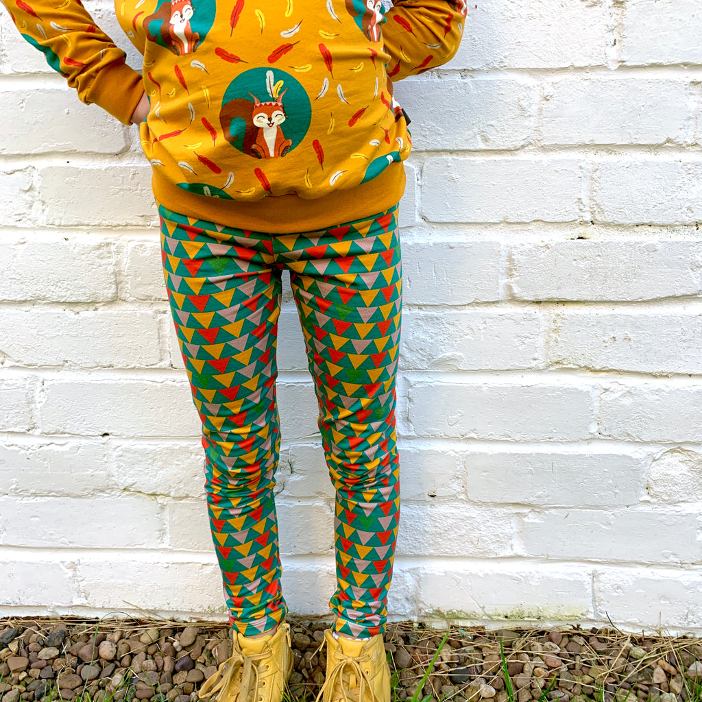 Extra warm sweatshirt leggings - bunting flags (6-12 years)