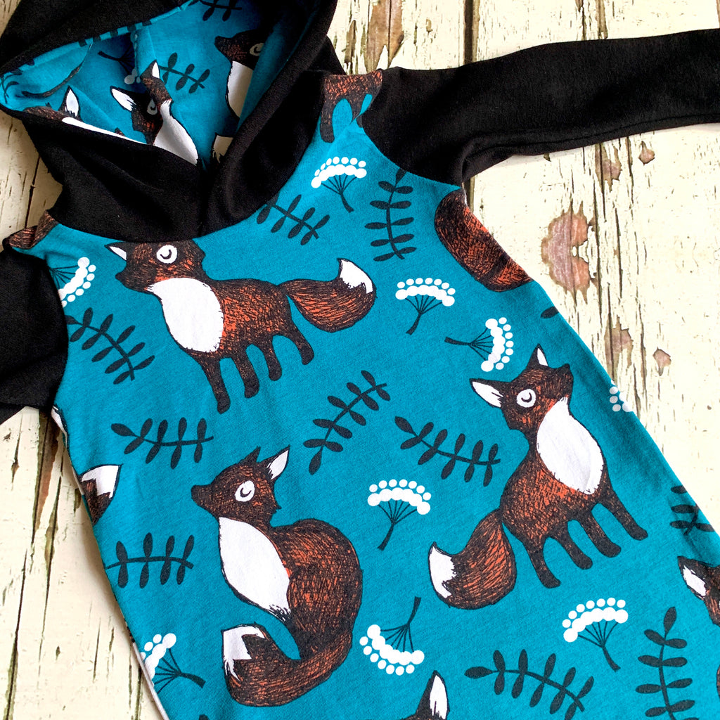 Pull-on Nutti the fox harem romper, fox romper, baby onesie, hooded romper