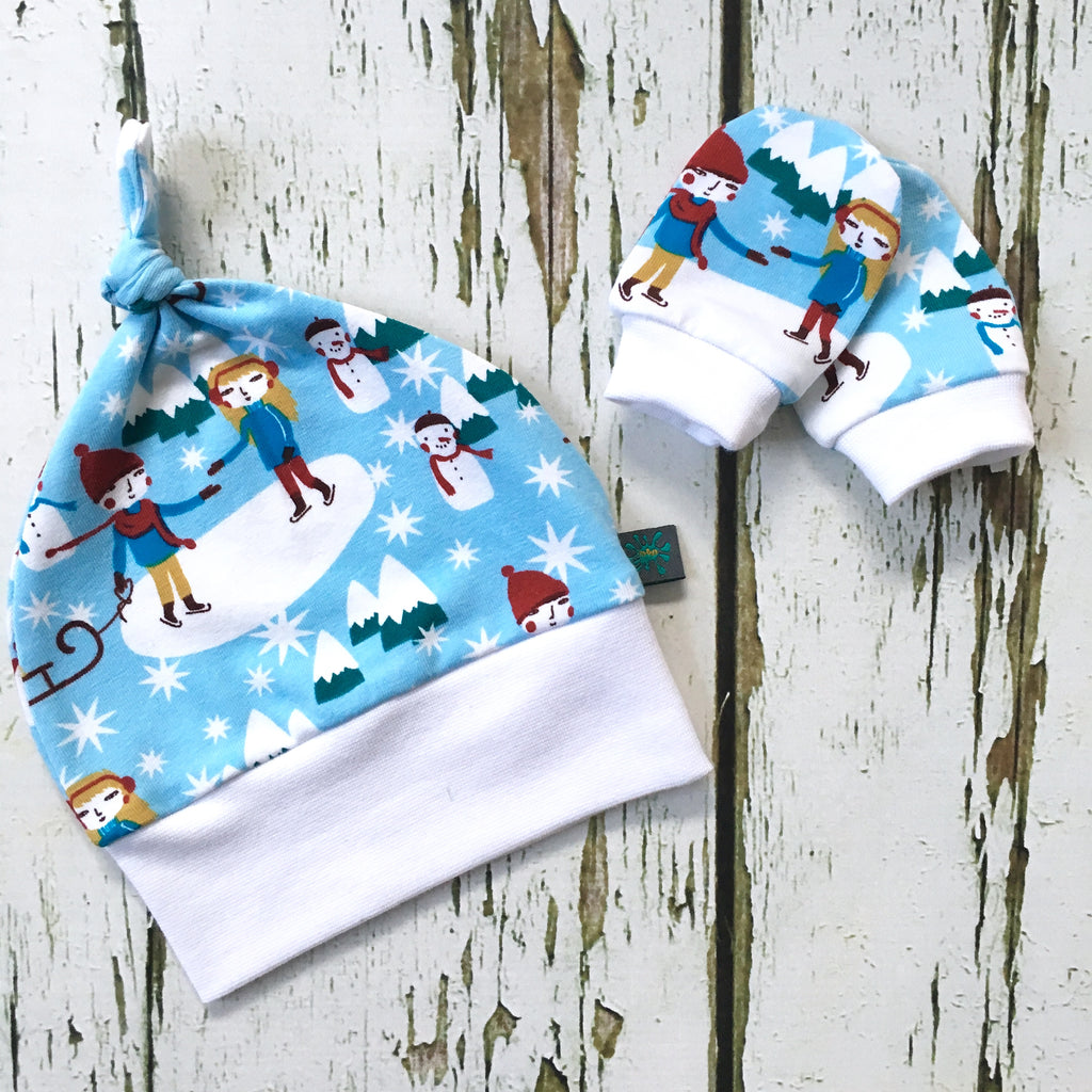 Newborn gift set, Ice skate baby knotted hat, scratch mitts, organic baby clothes, baby gift, baby shower gift, Christmas baby, snowmen