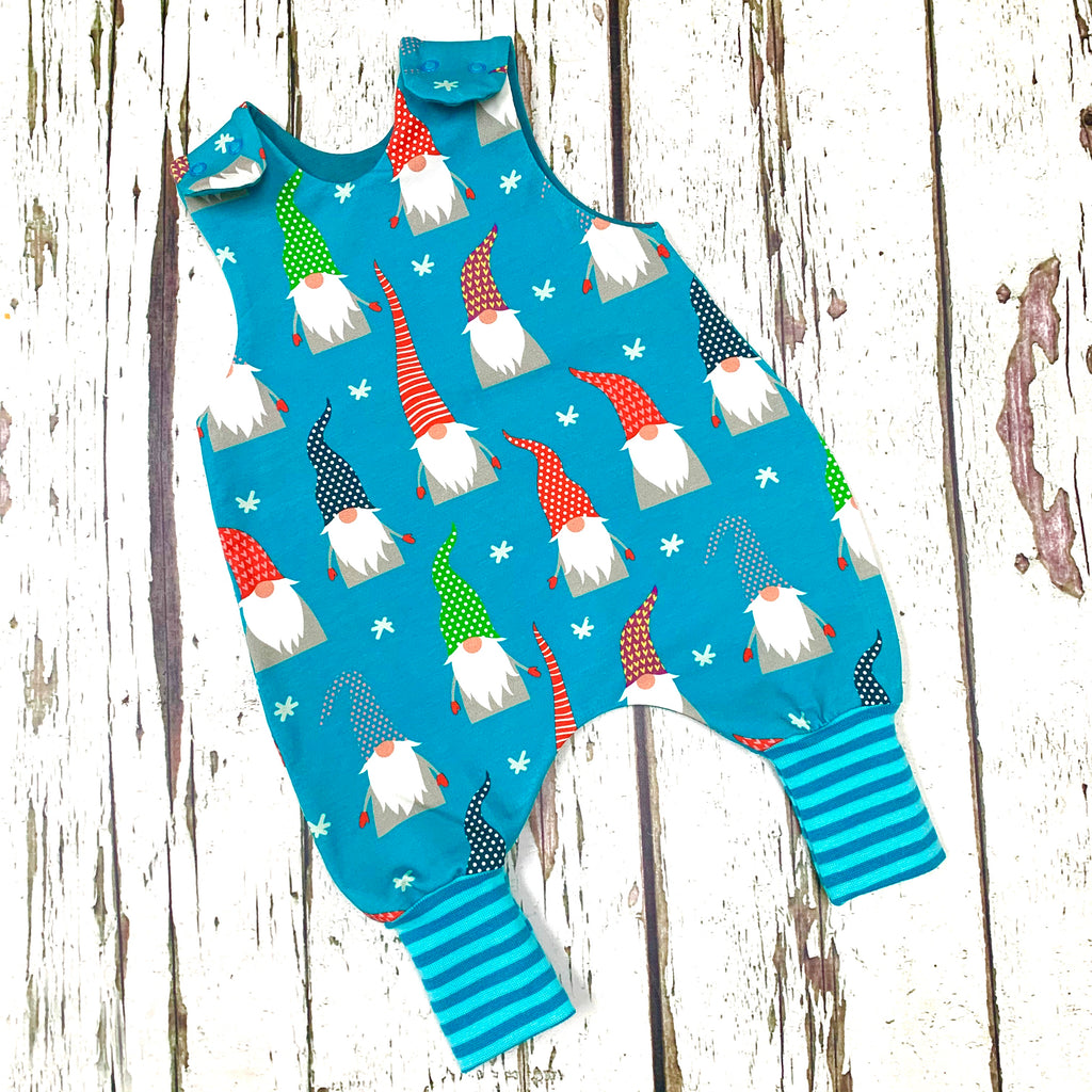 NEW! Christmas Aqua Gnomes Romper