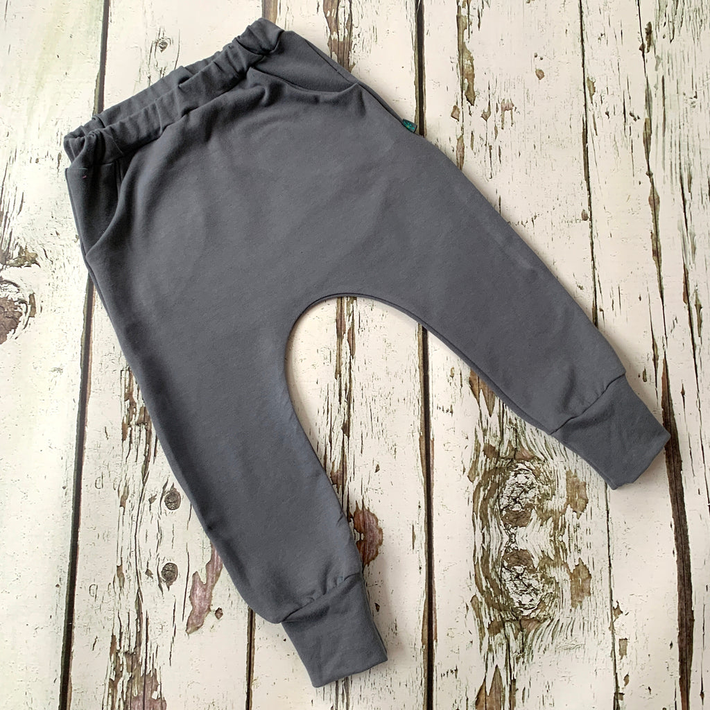 NEW! Grey organic baby child harem sweatpants, baby sweatpants,  joggers