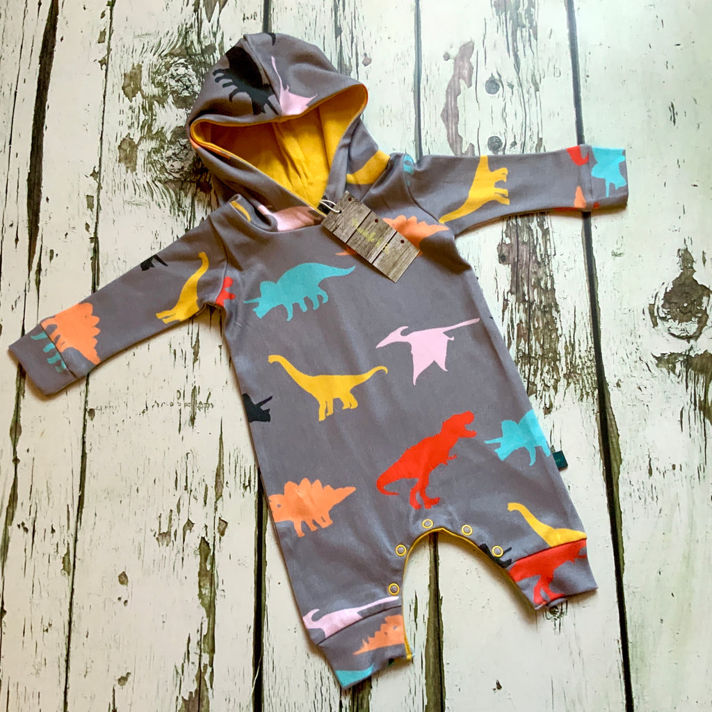 Dinosaur organic harem romper with poppers