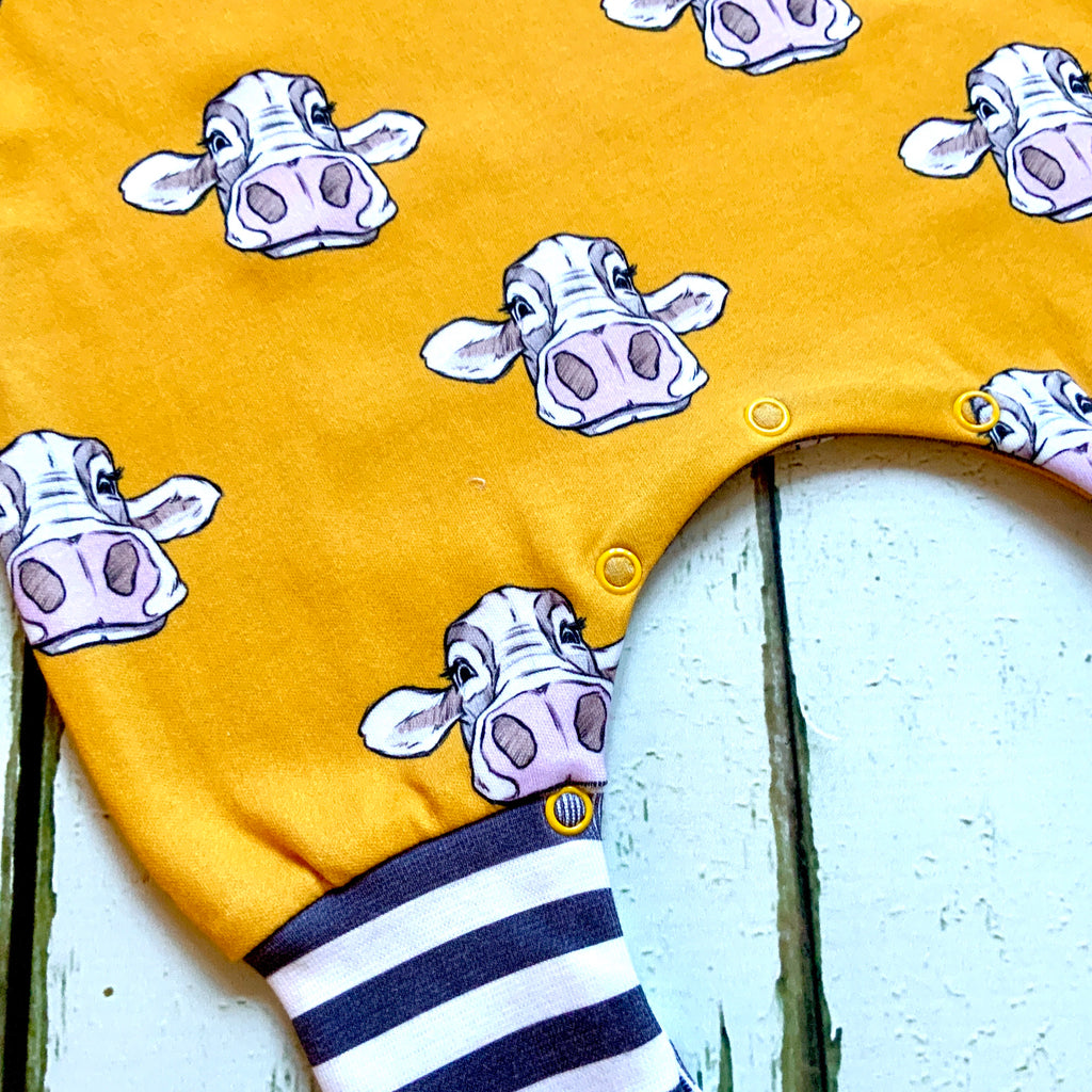 READY TO SHIP Organic cows romper, cows dungarees