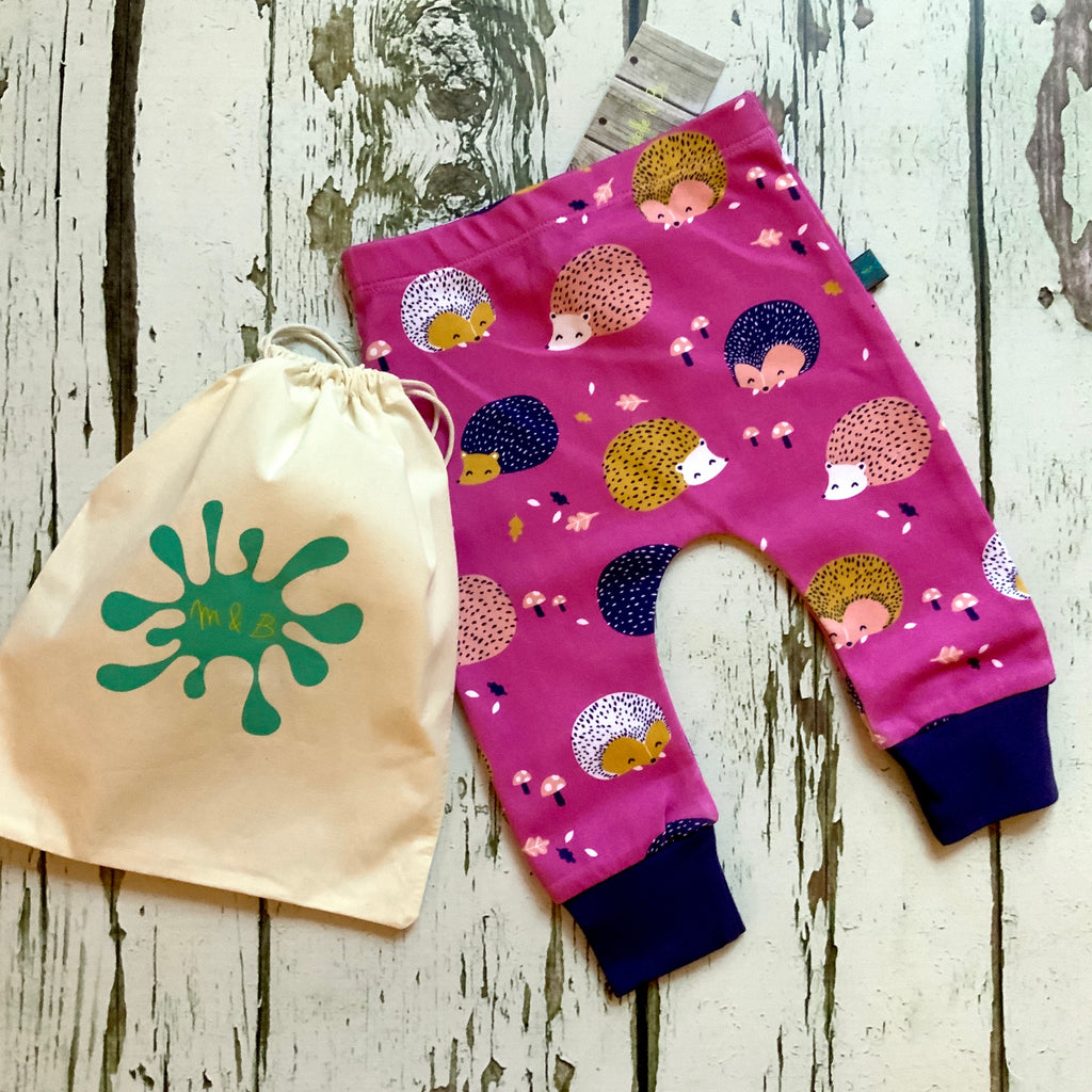READY TO SHIP Hedgehog leggings, baby leggings, toddler