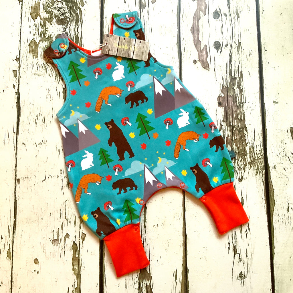 READY TO SHIP Organic bears romper, foxes dungarees