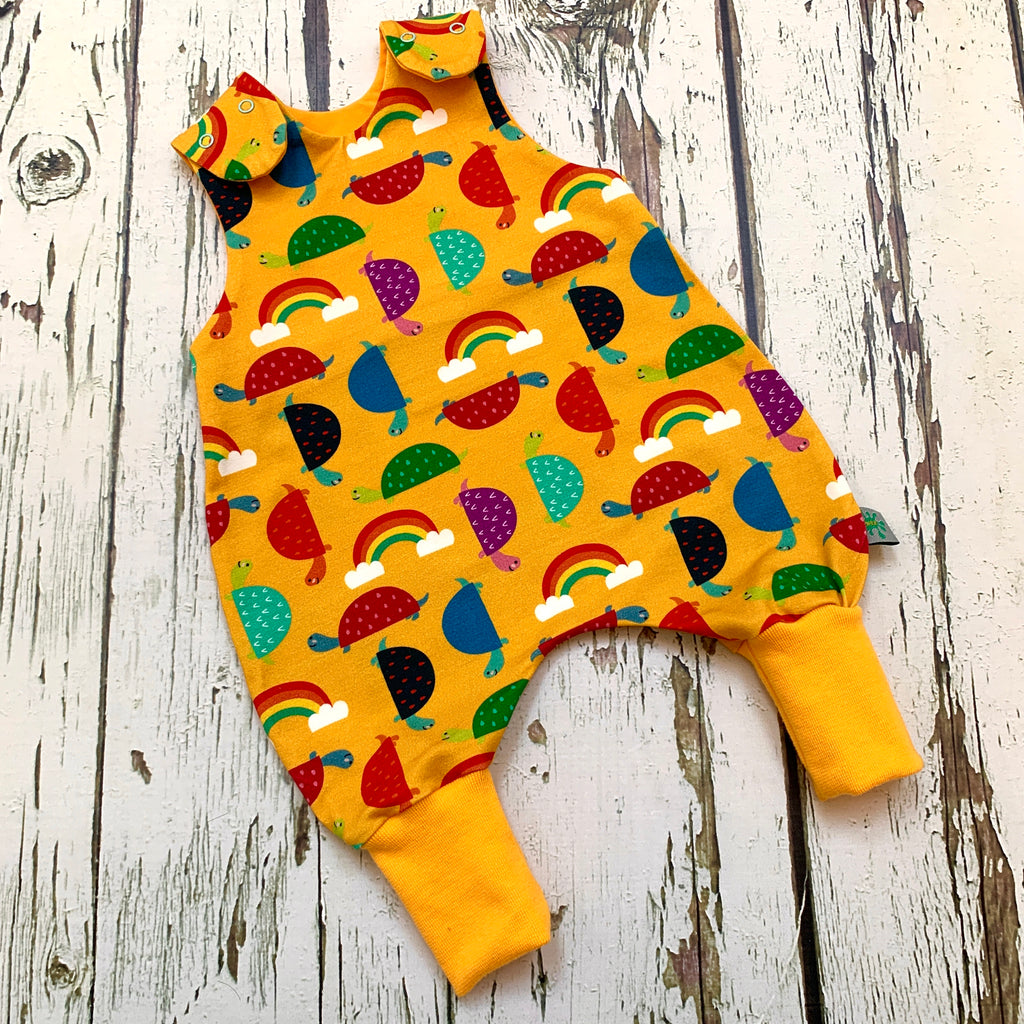 NEW! Rainbow turtles organic romper, romper, kids romper, baby romper, dungarees, rainbows