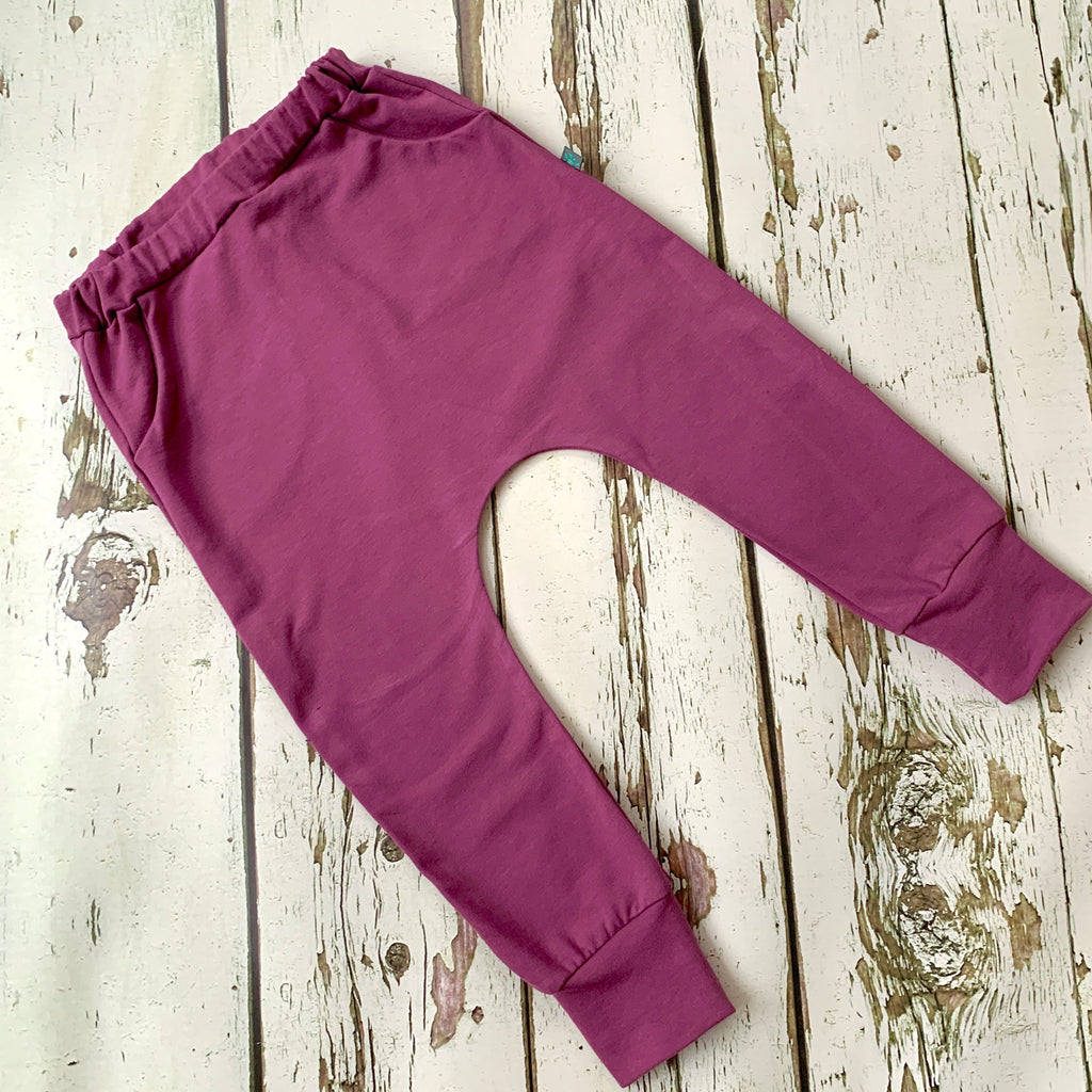 NEW! Purple organic baby child harem sweatpants, baby sweatpants,  joggers