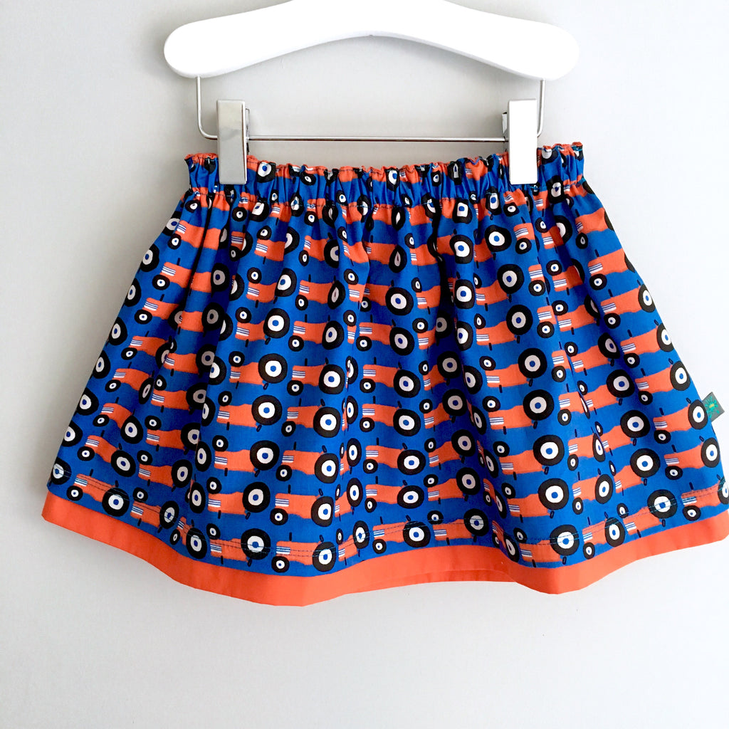 Organic tractors skirt, baby skirt, girls skirt, tractors, double layered