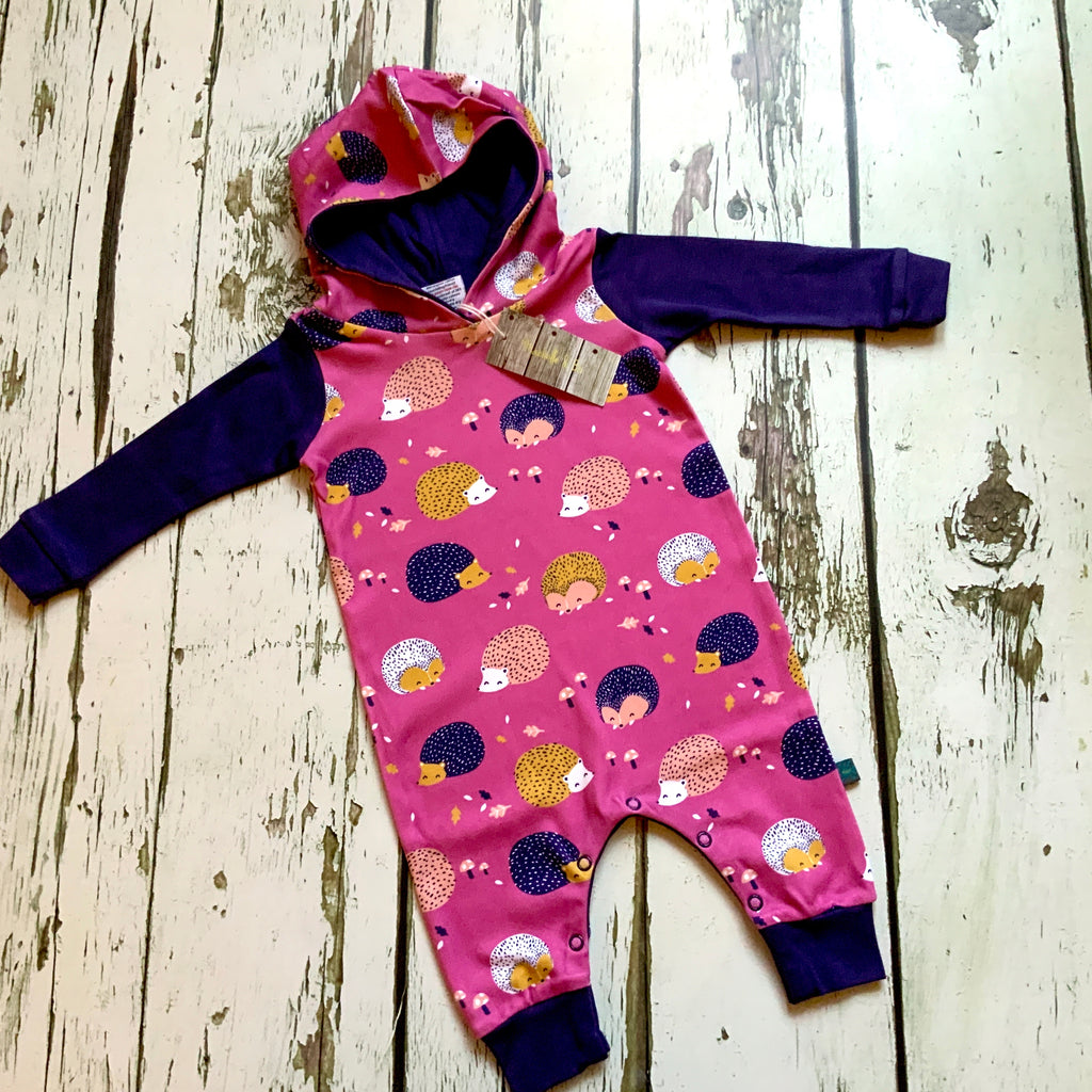 Hedgehog organic harem romper with poppers