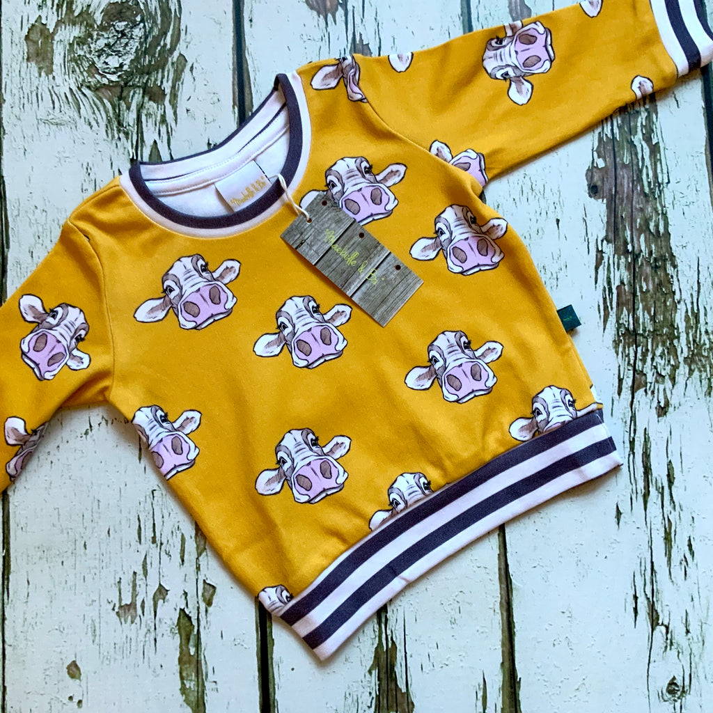 Organic cows top, baby jumper, toddler jumper
