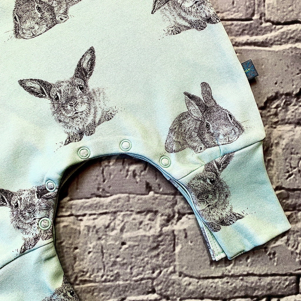 READY TO SHIP Organic mint bunnies romper, bunny dungarees