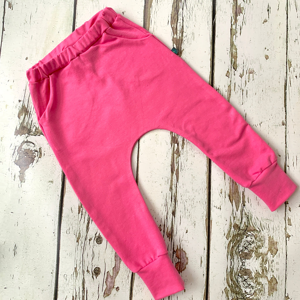 NEW! Hot pink organic baby child harem sweatpants, baby sweatpants,  joggers