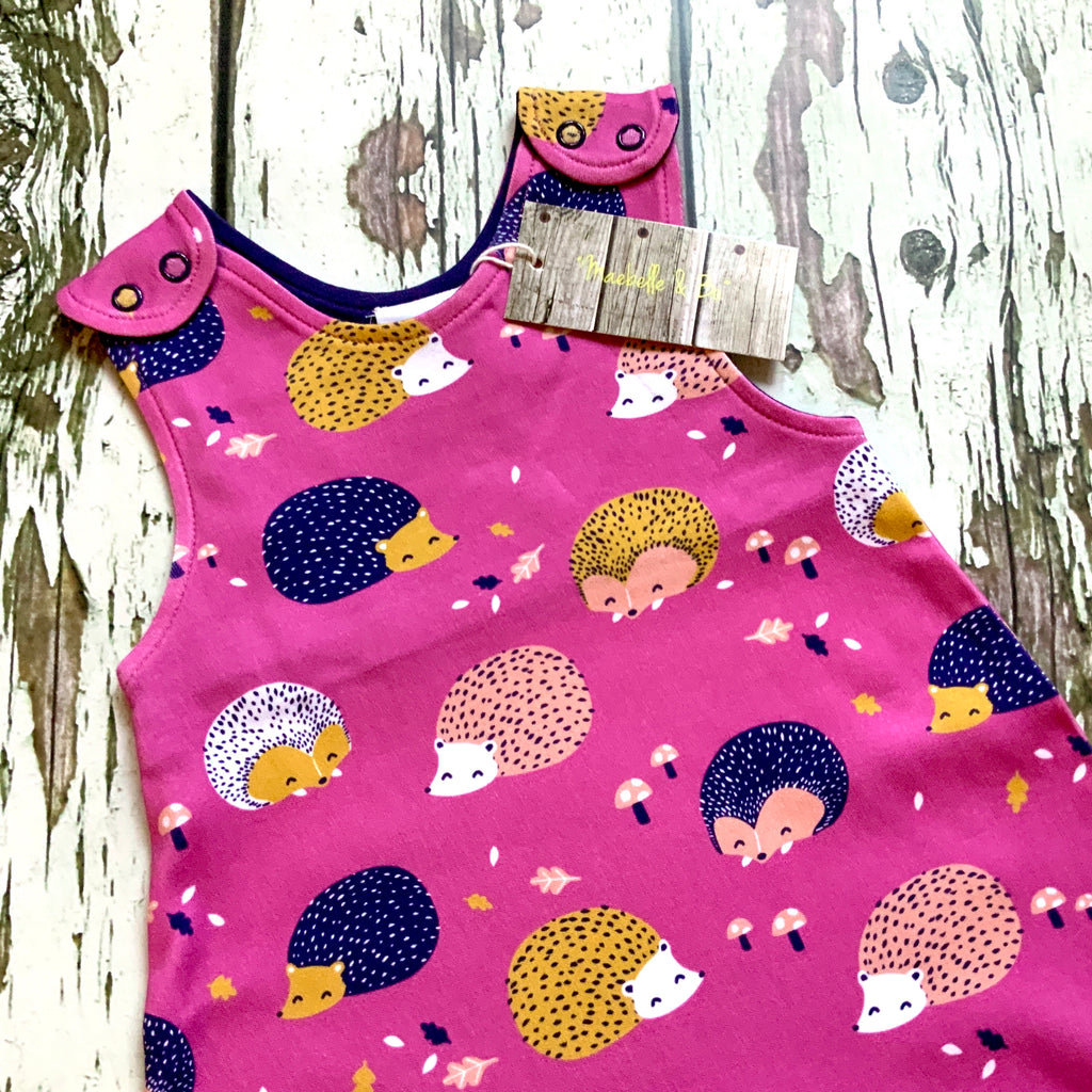 READY TO SHIP Organic hedgehogs romper, hedgehog dungarees
