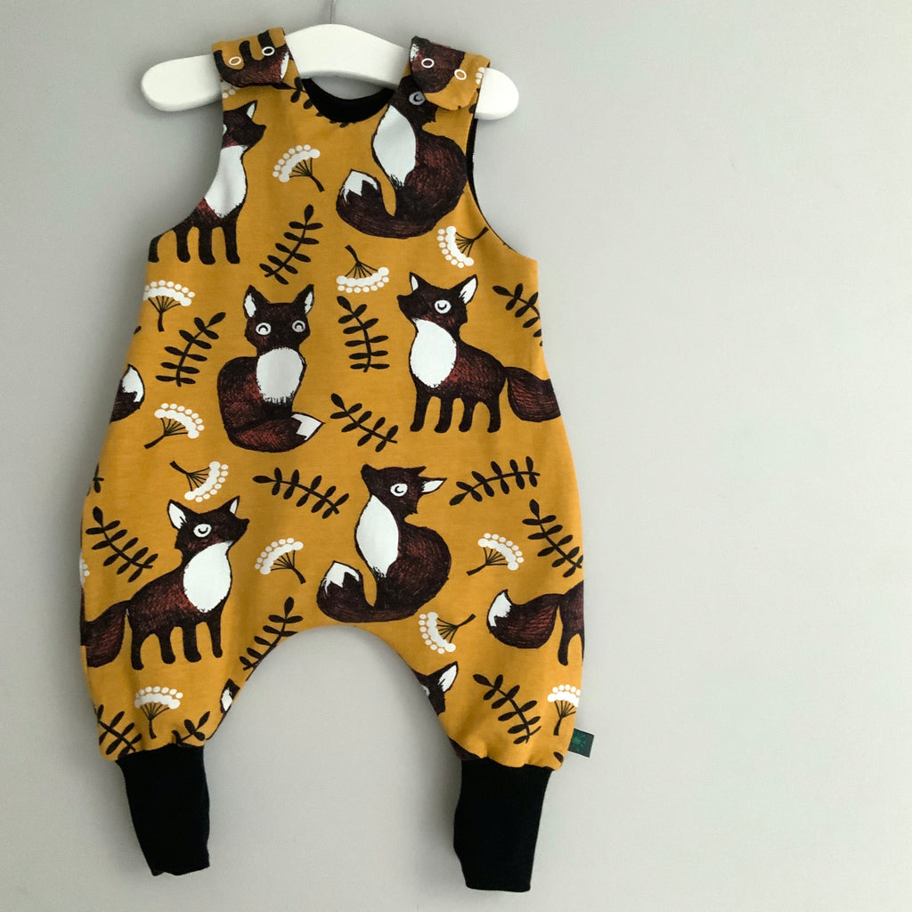 NEW! Mustard Nutti the fox baby romper, baby dungarees, toddler romper