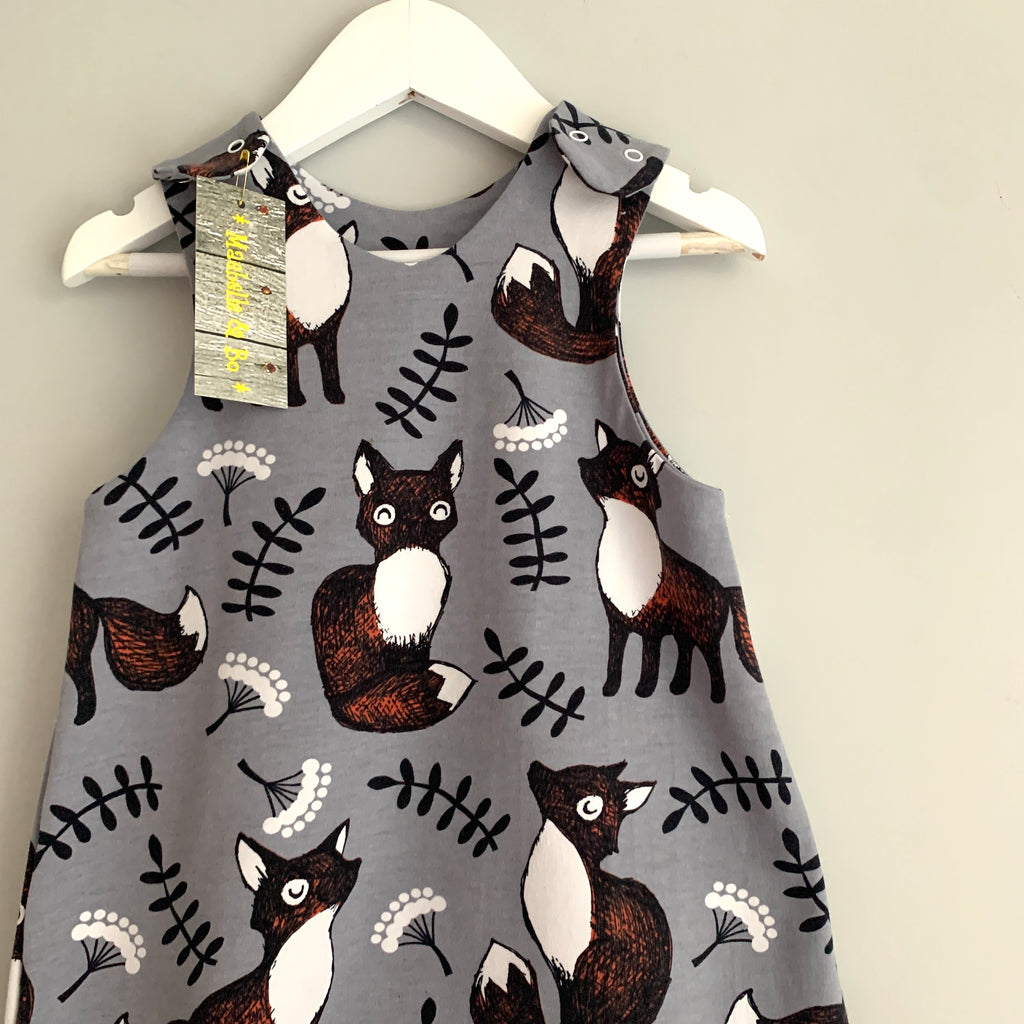 NEW! Nutti the fox baby romper, baby dungarees, toddler romper, grey