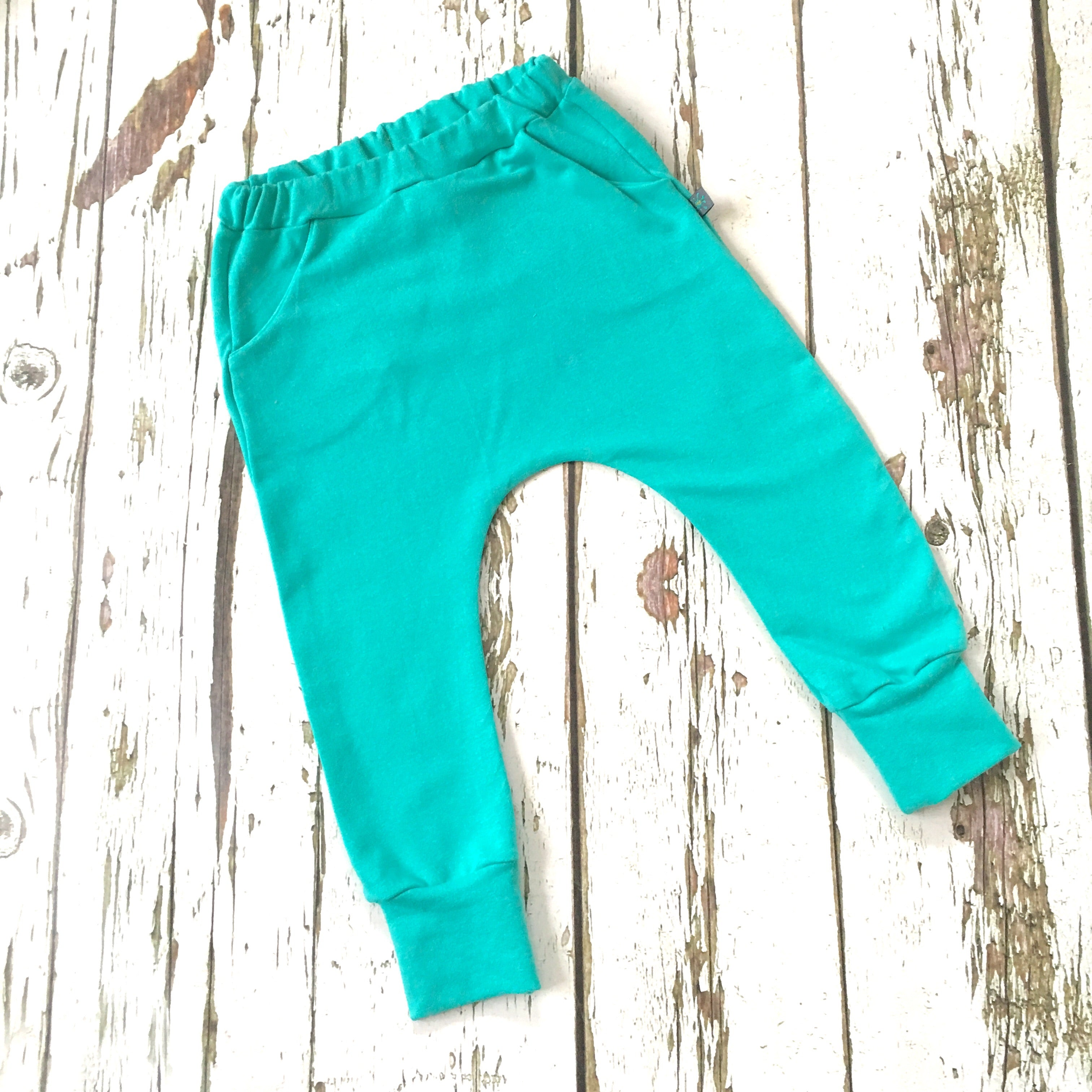 100% original meticulous dyeing processes on sale online NEW! Turquoise organic baby child harem sweatpants, baby sweatpants, joggers