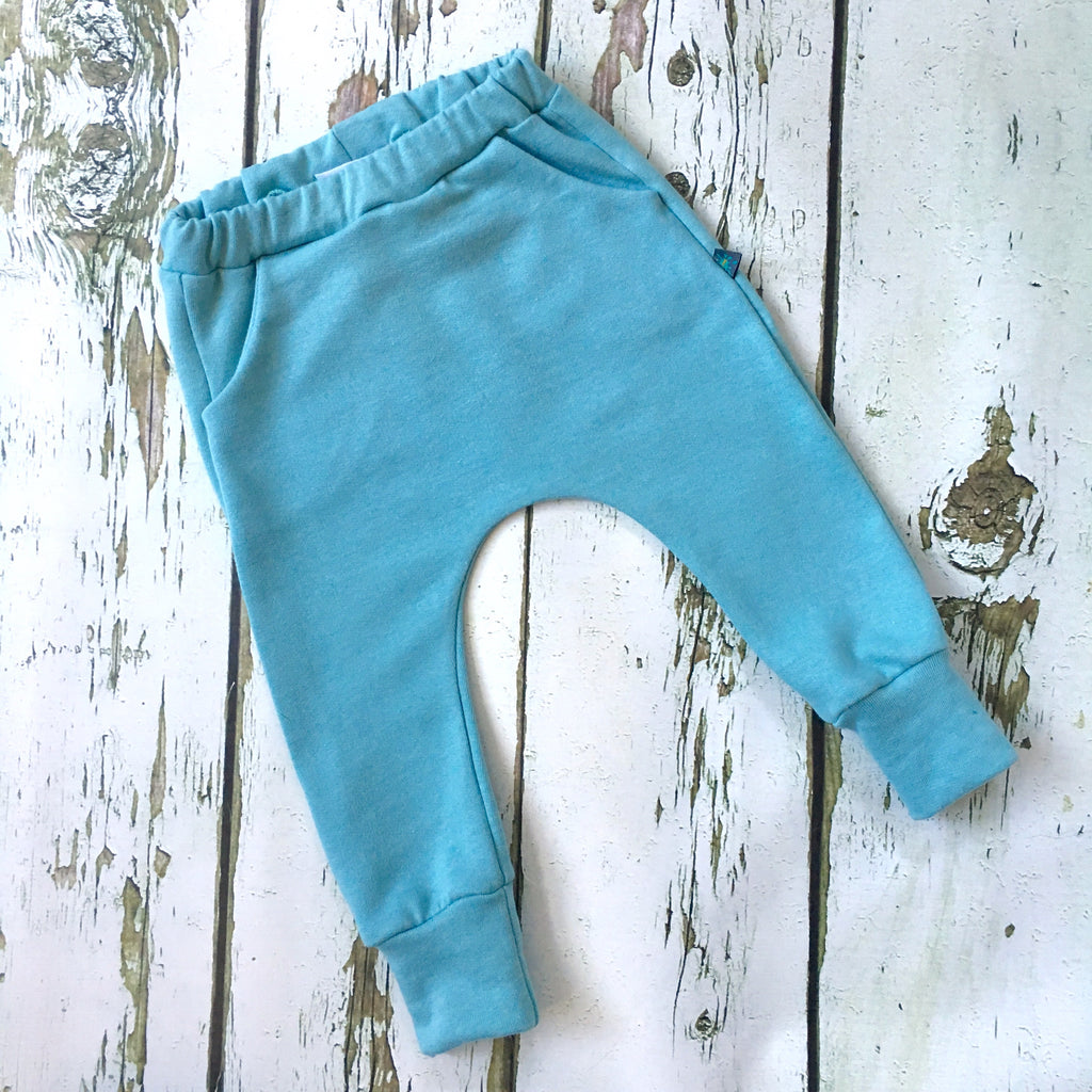 NEW! Sea green organic baby child harem sweatpants, baby sweatpants,  joggers