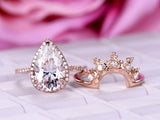 Pear Moissanite Engagement Ring Sets Tiara Wedding Band 14K Rose Gold 8x12mm