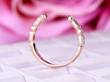 Baguette/Round Diamond Wedding Band Half Eternity Anniversary Ring 14K Rose Gold Open End