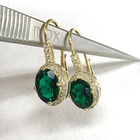Oval Green Emerald Earrings Pave Diamond 14K Yellow gold 6x8mm