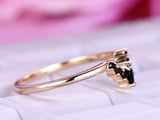 Black Onyx Engagement Ring Tiara Wedding 14K Yellow Gold
