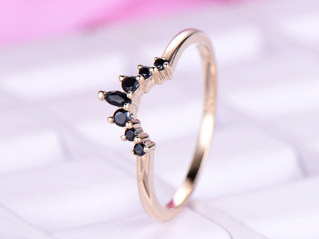 Delightful Black Onyx Engagement Ring Tiara Wedding 14K Yellow Gold