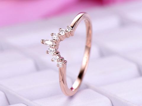 Custom Round/Marquise Moissanite Curved  Contour Tiara Wedding Ring 14K Rose Gold