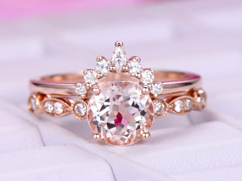 Round Morganite Engagement Ring  Sets Moissanite Tiara Ring 14k Rose Gold 6.5mm