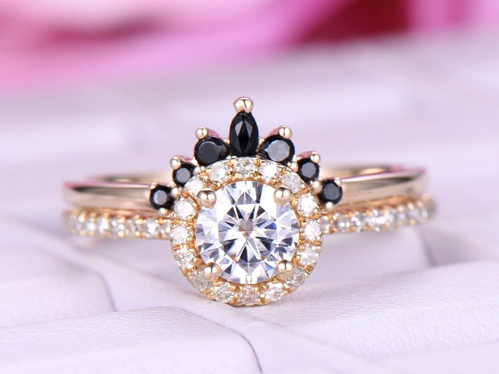 Round Moissanite Engagement Ring  Sets Black Onyx Tiara Ring 14k Yellow Gold 5mm