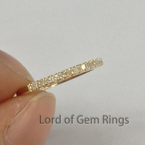 French Pave Diamonds Wedding Band Half Eternity Anniversary Ring 14K Yellow Gold - Lord of Gem Rings - 1