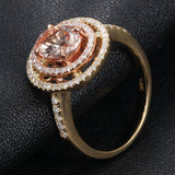 Oval Morganite Engagement Ring Pave Diamond Double Halo 14K Yellow Gold 6x8mm - Lord of Gem Rings - 4