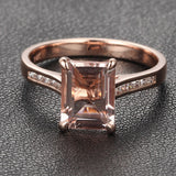 6x8mm Emerald Cut Morganite & Diamonds Engagement Ring in 14K Rose Gold - Lord of Gem Rings - 6